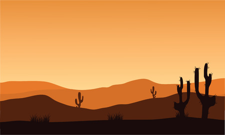 desert cactus: desert cactus silhouette and sunrise with orange backgrounds