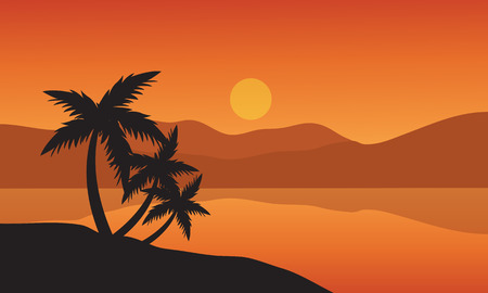 trees silhouette: Tree palm trees silhouette on sunset tropical beach and mountain