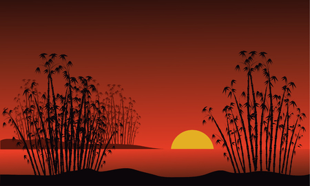 Bamboo on a background of a dawn and moon Illustration