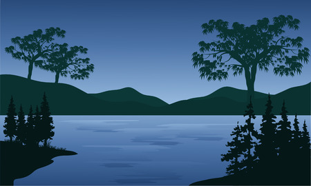 lake sunset: Sunset in huge mountains near lake at night Illustration