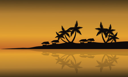 gold coast: Scenery beach of silhouette at sunset with gazebo and palm