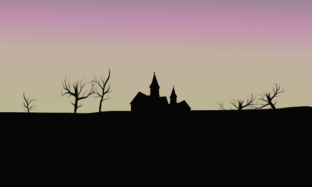barren: silhouette house in the fields and dry tree Illustration
