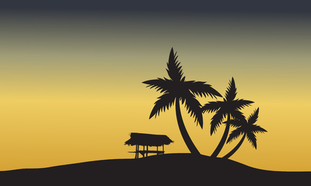 romantic getaway: palm trees sunset golden of silhouette at sunset