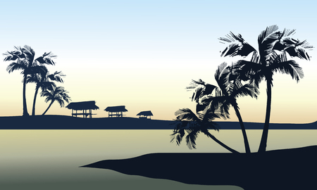 sunset beach: Tropical sea and gazebo landscape a beautiful
