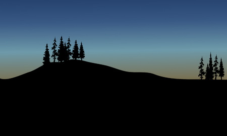 Vector spruce of silhouette in the hills Illustration