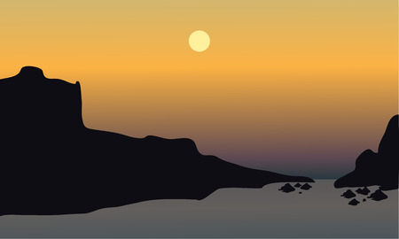 beach sunset: beautiful sunset on the beach with rocks at tthe afternoon Illustration