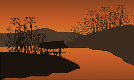 Illustration of a hut at the riverbank of silhouette
