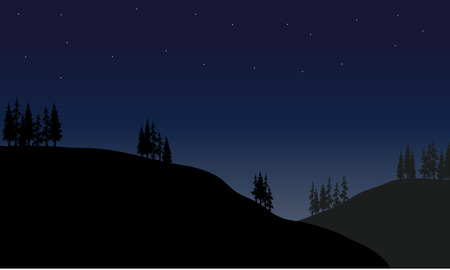spruce tree: Scenery hills at the night with spruce tree Illustration