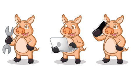 laptop mascot: Cream Pig Mascot with laptop, phone and tools