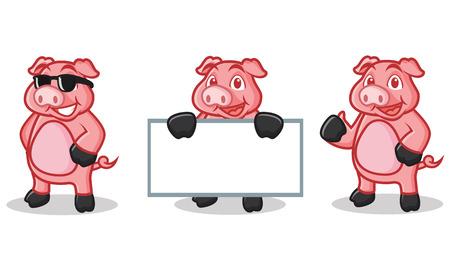 deep pink: Deep Pink Pig Mascot happy, pose and bring board