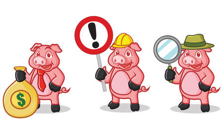 deep pink: Deep Pink Pig Mascot with sign, mmoney and magnifying Illustration