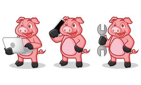 laptop mascot: Deep Pink Pig Mascot with phone, laptop and tools