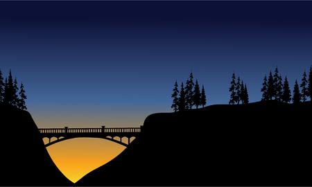cliff: Bridge in cliff scenery at the night