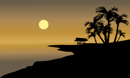 beach hut: Silhouette of beach and hut with sun in the afternoon