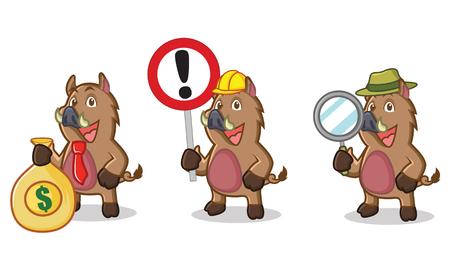 jabali: Marrón de la mascota del cerdo salvaje con dinero, signo y de aumento