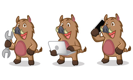 laptop mascot: Brown Wild Pig Mascot with phone, laptop and tools