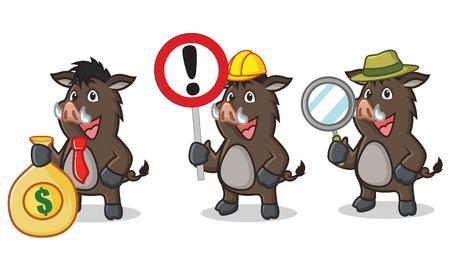jabali: Brown oscuro de la mascota del cerdo salvaje con el dinero y el signo