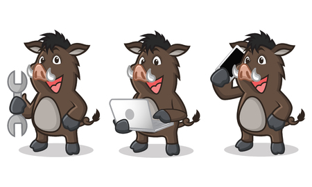 laptop mascot: Dark Brown Wild Pig Mascot with laptop and phone Illustration