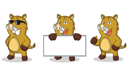light brown: Light Brown Wild Pig Mascot happy, pose Illustration