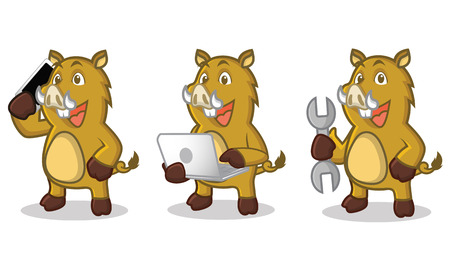 laptop mascot: Light Brown Wild Pig Mascot with laptop and phone Illustration