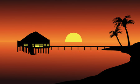 beach hut: Hut in beach landscape at the sunset with sun Illustration
