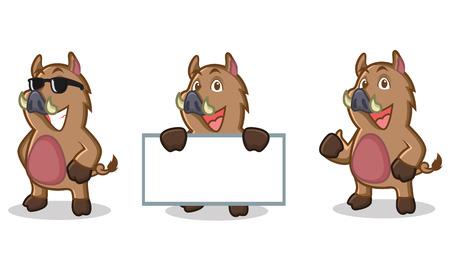 jabali: Marrón salvaje mascota del cerdo feliz, plantear y llevar juntas Vectores