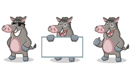 jabali: Gray cerdo salvaje de la mascota feliz, plantear y llevar a bordo