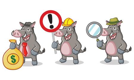 jabali: Gris de la mascota del cerdo salvaje con la muestra, dinero y de aumento