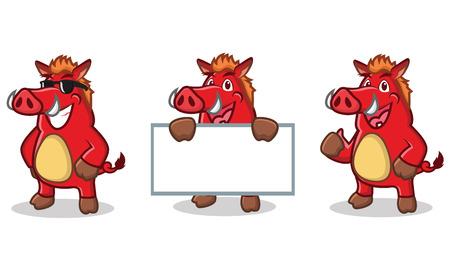 jabali: Rojo salvaje mascota del cerdo feliz, plantear y llevar a bordo Vectores