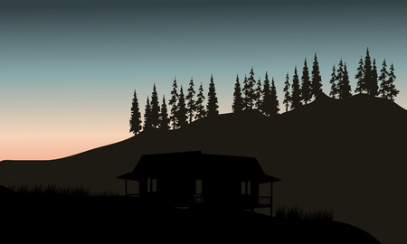 spruce: Silhouette of hut with spruce backgrounds at the morning
