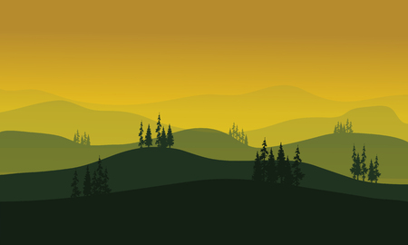 rock layer: Vector Morning at foggy Mountains aith spruce tress