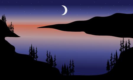 Lake at night scenery with moon a beautiful  イラスト・ベクター素材