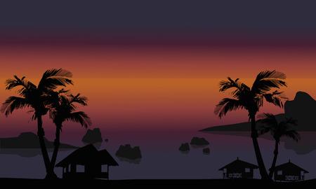 Beautiful beach scenery of silhouette at the night