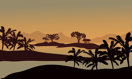 riverbank: Silhouette of banana trees in riverbank at the afternoon