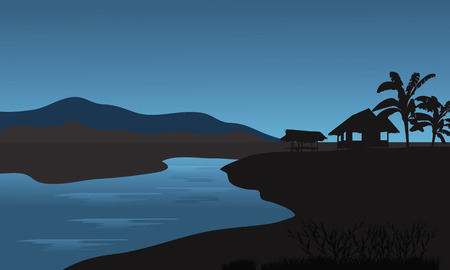 riverbank: Silhouette of hut in riverbank with bluue backgrounds