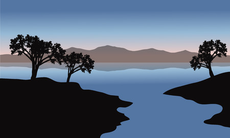 blue  backgrounds: Silhouette of lake and trees with blue backgrounds