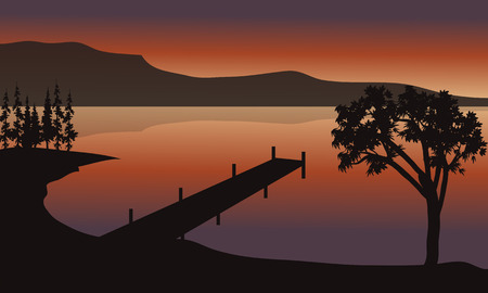 pier: Pier at sunrise scenery with mountain backgrounds Illustration