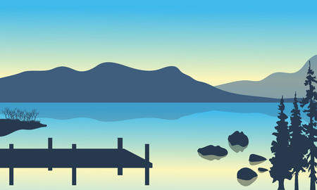 pier: Lake and pier scenery with mountain of silhouette Illustration