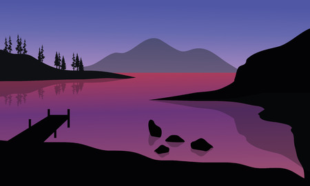 pier: Silhouette of pier and mountain in sea with purple backgrounds Illustration