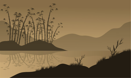 japanese garden: vector landscape with bamboo silhouette in the river