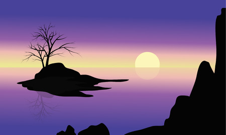 Black silhouette of single tree on the small islands