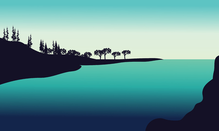 od: Silhouette od hills in river with green backgrounds