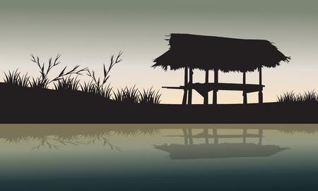 silhouette maison: Old Hut dans les champs silhouette et réflexion Illustration