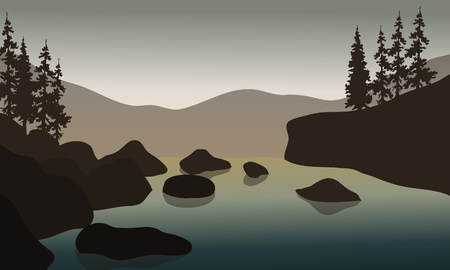 Rock in river with gray backgrounds  at the morning