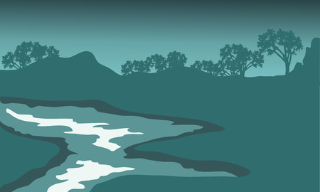 riverbank: Silhouette of river with green backgrounds and mountain