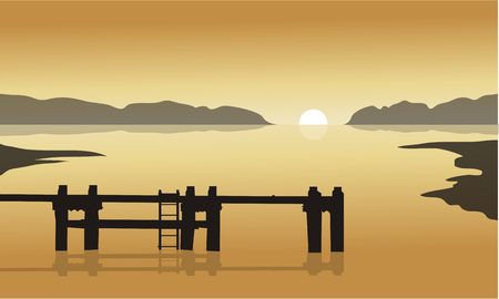 pier: At sunrise in sea with pier silhouette with yellow backgrounds Illustration