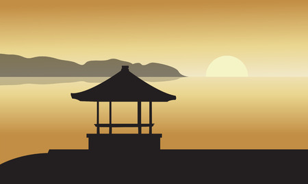 beach sunset: Silhouette of Gazebo at Sunset in beach