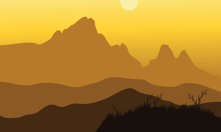 rock layer: Vector scenery of noon at mountains with yellow backgrounds