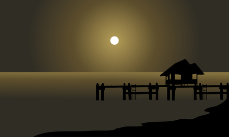 pier: Silhouette of hut and pier at the night