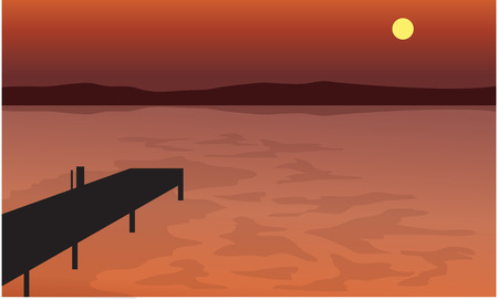 pier: At Sunset pier silhouette scenery with hills backgrounds Illustration
